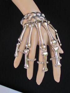 Women Silver Long Fingers Metal Hand Chain Skeleton Skull Bones Elastic Bracelet