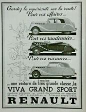 PUBLICITÉ DE PRESSE 1938 VOITURE RENAULT LA VIVA GRAND SPORT COACH DÉCAPOTABLE