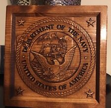 Wood Carved Navy Logo Plaque - Military Gift, Veteran Gift, Navy