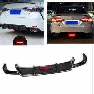 Carbon Fiber Look Rear Bumper Diffuser Lip W/Light For Toyota Camry 2018-2021