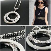 Korean Women's Double Round Silver Charm Pendant Necklace Fashion Jewelry Gift