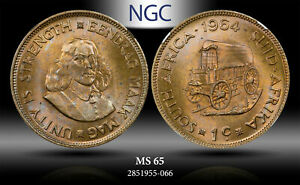 1964 SOUTH AFRICA 1 CENT NGC MS 65 #!