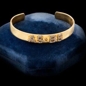 Antique Vintage Art Deco 14k Yellow Gold Diamond AS & BS Initial Cuff Bracelet