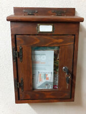Cassetta per posta e riviste, artigianale, con vetro in vari colori