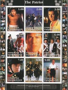 THE PATRIOT MEL GIBSON HEATH LEDGER EPIC WAR MOVIE 2001 MNH STAMP SHEETLET