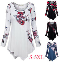 Oversized Women Asymmertrical Floral Printed Long Sleeve Tunic Shirt Tops Blouse