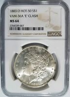 1883 O Silver Morgan Dollar NGC MS 64 Vam 36A E Clash Hot 50 List Mint Error