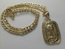 """Our Lady of Guadalupe Gold Plated Pendant with 26"""" Necklace New"""