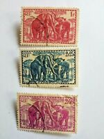 Cameroun n°142-150-151 Elephants 1939 French Colony Timbre Stamp