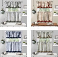 Kate Aurora Modern Geo 3 Pc Kitchen Curtain Tier & Valance Set - Assorted Colors