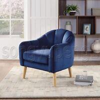 Accent Arm Chair Club Seat w/ Cushion Fabric Upholstered Single Sofa Wood Leg US