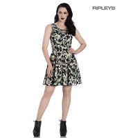 Hell Bunny Black Lace Up Goth Punk Mini Dress PEEPERS Eyeballs Flowers All Sizes