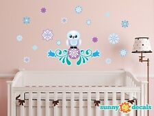 Frozen Inspired Snow Owl Fabric Wall Decal with Flowers and 16 Snowflakes