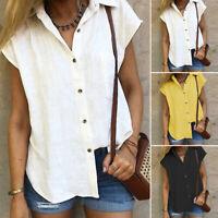 ZANZEA Womens Summer Turn Down Collar Short Sleeve Baggy Tops Shirt Blouse Tee