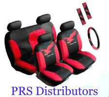 CAR SEAT COVERS Synthetic Leather RED BLACK in 11 Pieces Gift