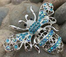 Large Bee Rhinestone Pin Brooch Aqua Blue Silver Tone Insect Bug Fashion Jewelry