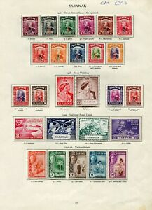 SARAWAK 1941-50 KGVI MINT CLLECTION ON PRINTED LEAVES CAT £390
