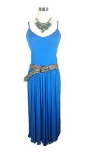 CARLA ZAMPATTI Dress - Azure Blue Colourblock 1990s Stretch Spaghetti Strap - 10