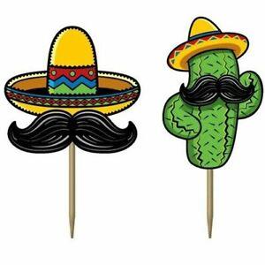 50 FIESTA CUPCAKE PICKS MEXICAN MUSTACHE PARTY TABLE DECORATIONS CACTUS SOMBRERO