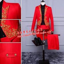 Men's Gold Embroidery Tuxedo Suit Evening Performance  Dress Formal Coat Pants