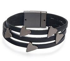 Black Leather Straps & Gun Metal Grey Heart Charms Bracelet