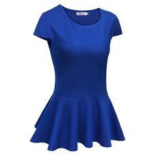 Meaneor Donne Moda Slim Fit Manica Ad Aletta Tinta Unita Peplum maglietta tops DRK BLU 2XL