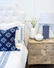NEW Serena & Lily OLYMPIA KING DUVET Cover Embroidered French Blue