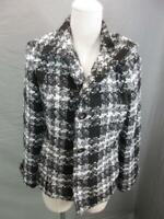 Chicos Size 0 Womens Black/White Long Sleeve Button-Up Knitted Coat Blazer T108