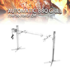 Large BBQ Stainless Steel Grill Rotisserie Spit Roaster Rod Charcoal Lambs 110V