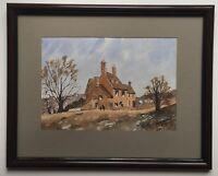Original Art Watercolour Painting Stone Cottage Farm Windrush Village Gloucester
