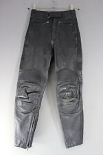FIELDSHEER BLACK LEATHER BIKER TROUSERS: WAIST 28 INCHES/INSIDE LEG 28 INCHES