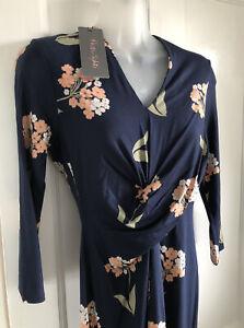 BNWT Phase Eight UK 8 Monica Knee Length Dress Floral Navy Multi  RRP £85
