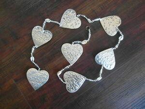 Balinese handcrafted aluminium hanging decoration hearts - 125cm