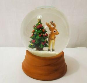 Eddie Bauer Snow Globe 2002 Christmas Tree Reindeer Wood Base Holidays Winter