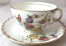 Adderley England Floral and Bird Tea Cup and Saucer UNUSUAL