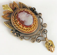 Pendant Chased Acorn Dangle Rope ! Antique 14K Yellow Gold Fine Chased Cameo