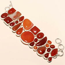 CARNELIAN 925 SILVER FASHION JEWELRY BRACELET 7-8""