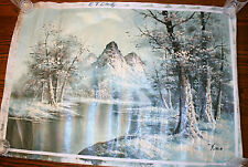 VINTAGE OIL PAINTING, SIGNED POLLOCK? LANDSCAPE, 2' X 3', IMPRESSIONISM WINTER