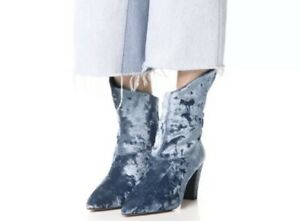Free People Moonlight Blue Crushed Velvet Ankle Boots Booties Size 38 7.5 US