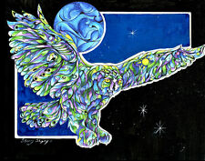 Once in a Blue Moon 8X10 OWL  Print from Artist Sherry Shipley