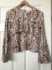 Nectar Clothing Boho Floral Shirt Top Bell Sleeve Blouse Size Juniors Large L