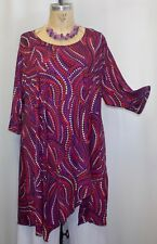 Coco & Juan Lagenlook Plus Size Tunic Multi Red Dot Asymmetric Top 3X/4X B60""