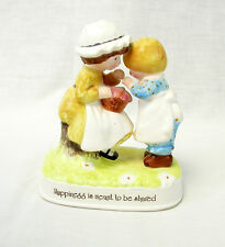 "Holly Hobbie 1974 Ceramic Figurine ""Happiness is meant to be shared"""