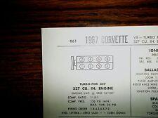 1967 Chevrolet Corvette 327 CI 350 HP V8 w/TI SUN Tune Up Chart Great Condition!