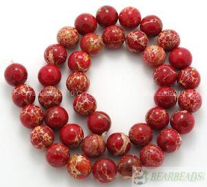 "Natural Sea Sediment Jasper Gemstone Round Ball Beads 6mm 8mm 10mm 12mm 15.5"""