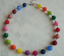 Perlen Kette Halskette Collier Polarisperlen bunt farbig Silber 45 cm NEU