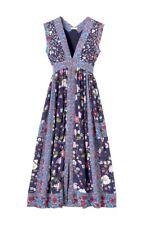 Rebecca Taylor Tapestry Garden Silk Midi Dress, Blue, 4