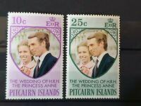 Pitcairn islands 1973 Wedding Of HRH The Princess Anne 2 stamp set MNH