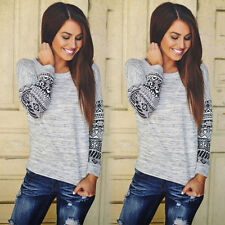New Fashion Womens Long Sleeve Tops Casual Lace Blouse Loose Cotton T Shirt