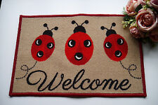 Shabby chic Ladybird Welcome Door Mat Floor Protector Washable Indoor - Caravan